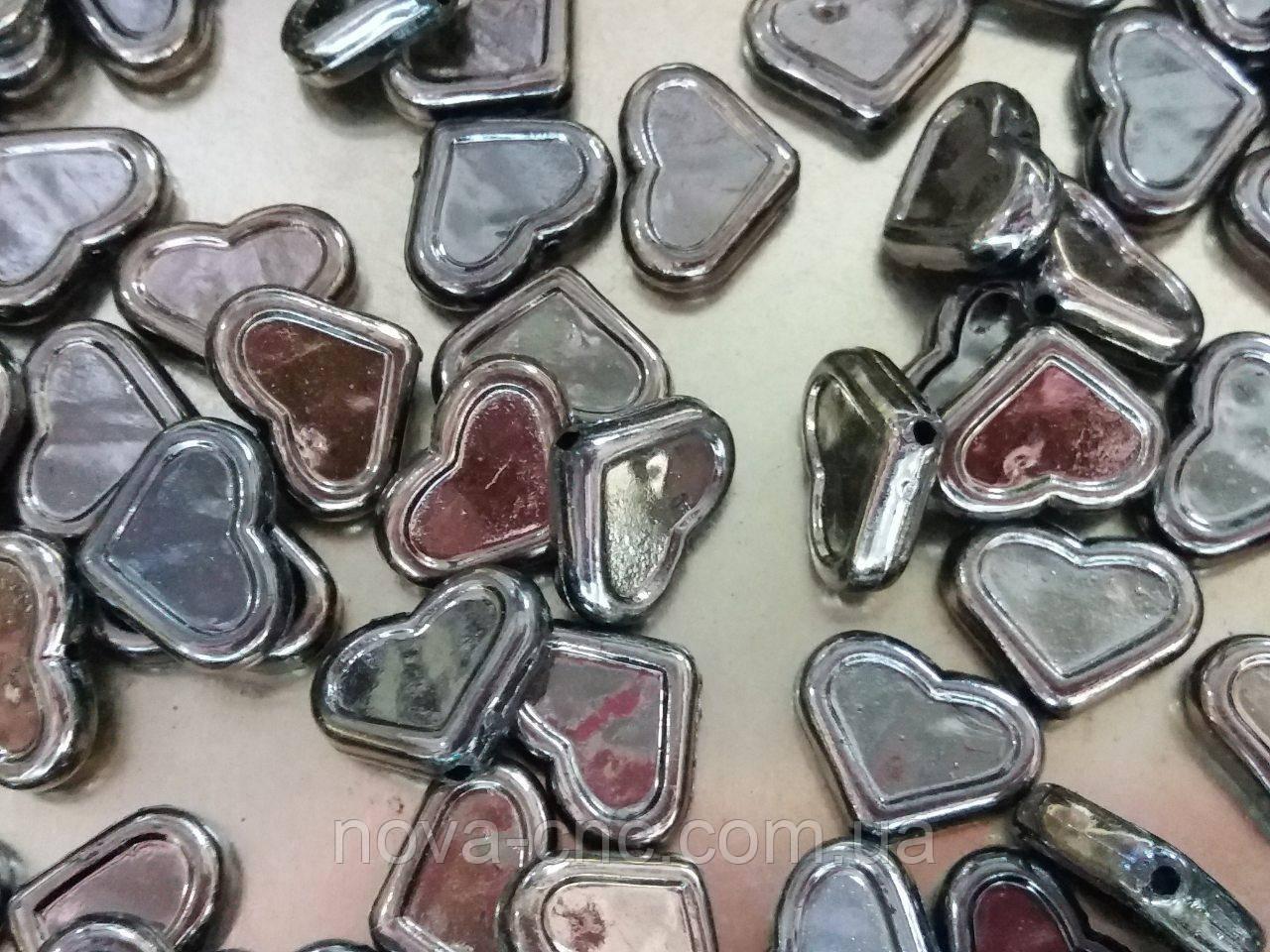 """Бусины пластик """"Сердце"""" серый металлик 500 грамм"""