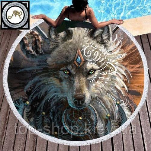 """Пляжное круглое полотенце из микрофибры, коврик-покрывало  160 см, """"Волк"""""""