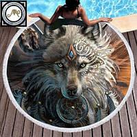 """Пляжное круглое полотенце из микрофибры, коврик-покрывало  160 см, """"Волк"""", фото 1"""