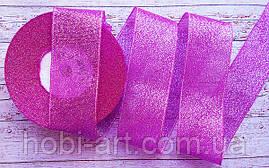 Стрічка парчева 35 мм  №02 малинова