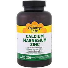 """Кальций, Магний, Цинк Country Life """"Calcium Magnesium Zinc"""" с L-Глутаминовой кислотой (250 таблеток)"""