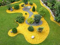 Декоративный цветной гравий желтый  (щебень, крошка) ландшафтного дизайна