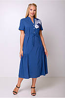 / Размер 50,52,54,56 / Женское красивая модель платье Барлетта / джинсовый цвет