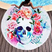"""Пляжное круглое полотенце из микрофибры, коврик-покрывало, 160 см, """"Череп в цветах, фото 1"""
