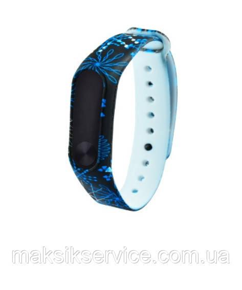 Ремешок Silicone with Print Xiaomi Mi Band 2 black\blue lines
