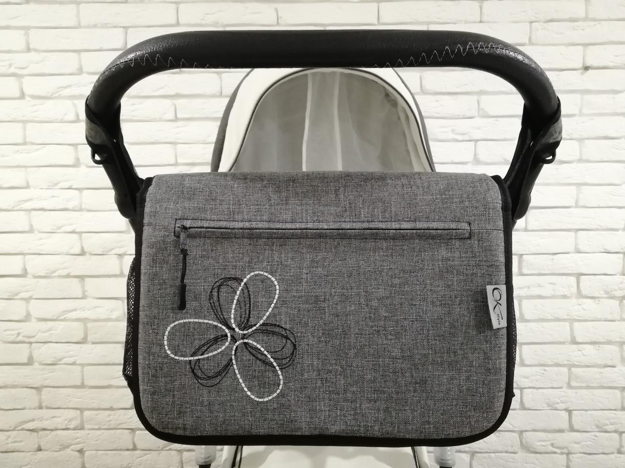 Сумка на коляску Ok Style Цветок Лен Серый