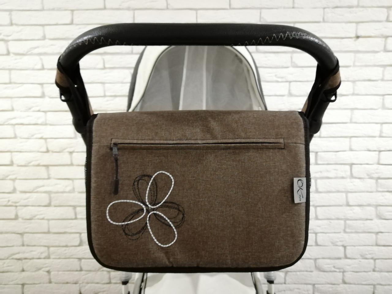 Сумка на коляску Ok Style Цветок Лен Серо-коричневый