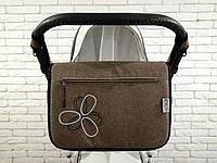 Сумка на коляску Ok Style Цветок Лен Серо-коричневый, фото 1
