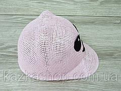 """Детская шляпка-кепка для девочек с ушками, без регулятора, с вставкой """"Панда"""" размер 54, фото 2"""