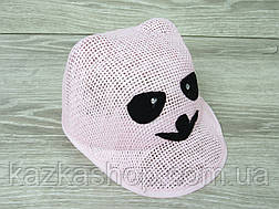 """Детская шляпка-кепка для девочек с ушками, без регулятора, с вставкой """"Панда"""" размер 54, фото 3"""