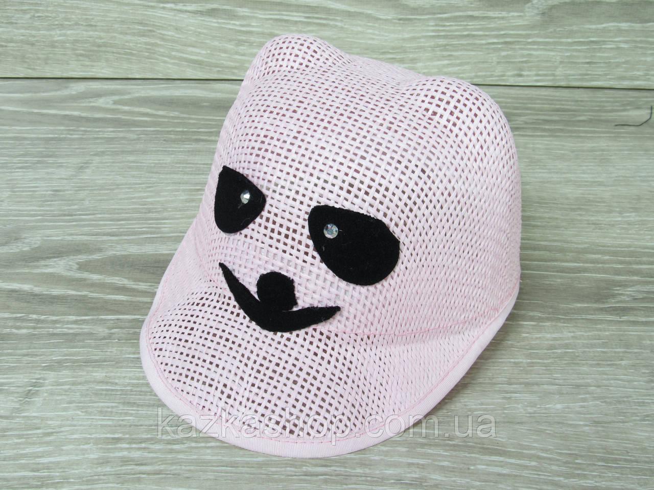 """Детская шляпка-кепка для девочек с ушками, без регулятора, с вставкой """"Панда"""" размер 54"""