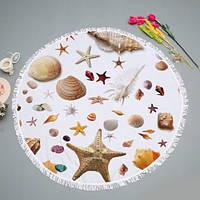 """Пляжное коврик-покрывало """"Морские ракушки"""" из микрофибры с бахромой"""