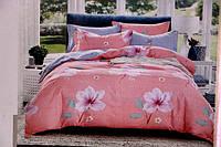 Сатиновое постельное белье Евро размера ZMW розовые цветы