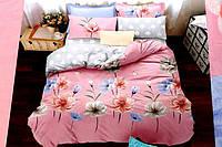 Сатиновое постельное белье Евро размера East Comfort романтика