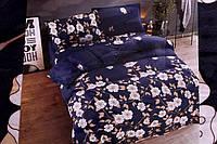 Сатиновое двуспальное постельное белье East Comfort темно-синее