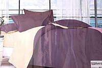 Сатиновое полуторное постельное белье Koloco фиолетово-бежевое