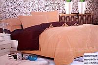 Сатиновое полуторное постельное белье Koloco бежево-коричневое