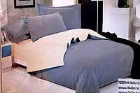 Сатиновое полуторное постельное белье Koloco бежево-серое