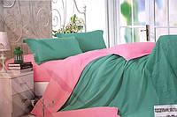 Сатиновое полуторное постельное белье Koloco изумрудное