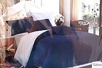 Сатинове двоспальне постільна білизна Koloco синьо-блакитний
