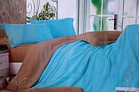 Сатинове двоспальне постільна білизна Koloco світло-блакитне
