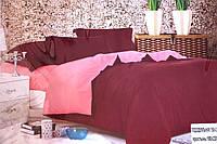 Сатинове двоспальне постільна білизна Koloco темно-червоне