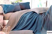 Сатинове двоспальне постільна білизна Koloco синьо-сіре