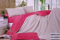 Сатинове двоспальне постільна білизна Koloco бежево-рожевий колір
