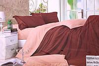 Сатинове двоспальне постільна білизна Koloco коричневого кольору