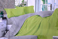 Сатинове двоспальне постільна білизна Koloco салатово-сіре
