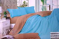 Сатинове двоспальне постільна білизна Koloco бежево-синє
