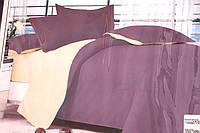 Сатинове двоспальне постільна білизна Koloco бежево-бузкове