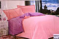 Сатиновое постельное белье Евро размера Koloco светло-розовое