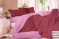 Сатиновое постельное белье Евро размера Koloco бордово-розовое