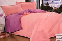 Сатиновое постельное белье Евро размера Koloco сиренево-розовое