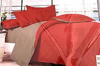Сатиновое постельное белье Евро размера Koloco серо-кирпичный цвет