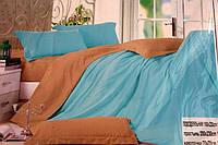 Сатиновое постельное белье Евро размера Koloco светло-голубое