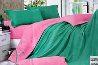 Сатиновое постельное белье Евро размера Koloco цвет морской волны