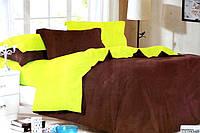 Сатиновое постельное белье Евро размера Koloco коричнево-желтое