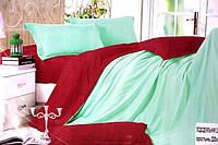 Сатиновое постельное белье Евро размера Koloco бирюзовый окрас