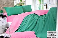 Сатиновое постельное белье Евро размера Koloco изумрудно-розовое