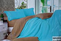Сатиновое постельное белье Евро размера Koloco бежево-голубой окрас