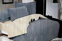 Сатиновое постельное белье Евро размера Koloco серо-бежевое