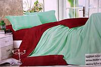 Сатиновое постельное белье Евро размера Koloco - Морская волна