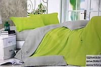 Сатиновое постельное белье Евро размера Koloco серо-салатовое