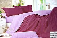 Сатиновое постельное белье Евро размера Koloco фиолетово-сиреневое