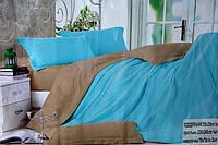 Сатиновое постельное белье Евро размера Koloco бежево-голубое