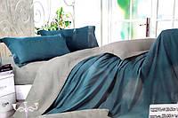 Сатиновое постельное белье Евро размера Koloco синее