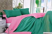 Сатиновое постельное белье Евро размера Koloco зелено-розовое