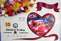 """5D Постельный комплект Евро стандарта """"TAC"""" - Цветы"""